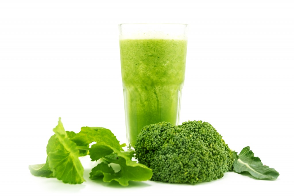 Green Smoothie juice and healthy drink on white background